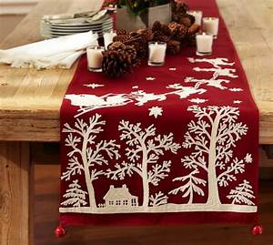 sleigh bell crewel embroidered table runner pottery barn With christmas tablecloths and runners