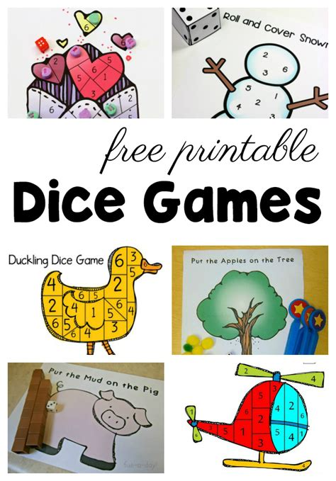 50 free preschool printables for early childhood classrooms 167 | free preschool printables dice games
