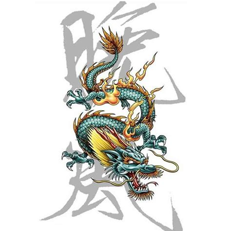 tatoo temporaire dragon lettres chinoises