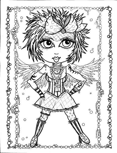 Instant Download 5 Coloring pages Gothic Angels Color book