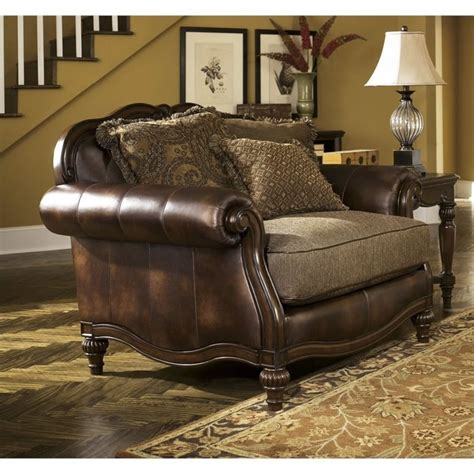 claremore faux leather oversized chair in antique