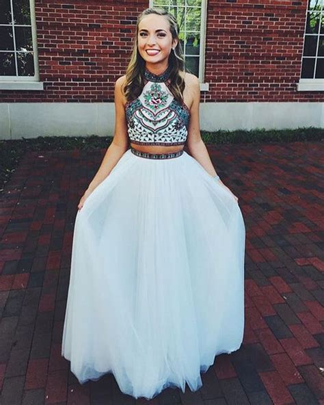Cute Halter Neck White Open Back Two Piece Tulle Prom ...