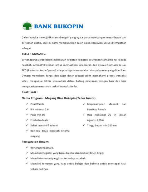 lowongan kerja pt bank bukopin tbk ditutup  juni