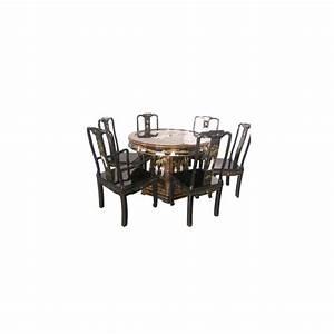 Table salle a manger laquee avec chaises et fauteuils for Meuble salle À manger avec fauteuil table a manger
