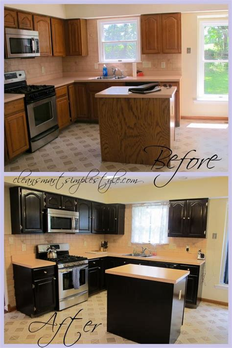 how to stain kitchen cabinets gel stain kitchen cabinet before after black cabinets