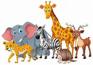Wild Animals Together In Group Stock Vector - Illustration ...