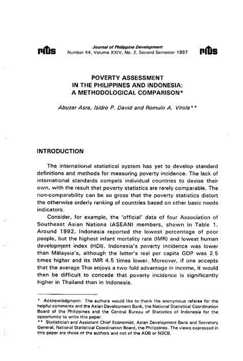 Poverty Assessment in the Philippines and Indonesia: A