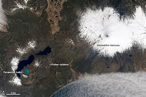 NASA Visible Earth: Shishaldin Volcano and Turquoise Lake