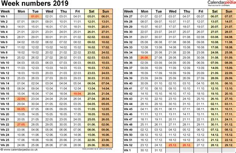 Week Numbers 2019, With Uk Bank Holidays