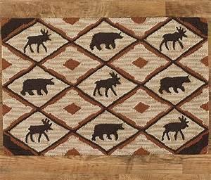 Rustic Retreat Moose & Bear Hooked Rug
