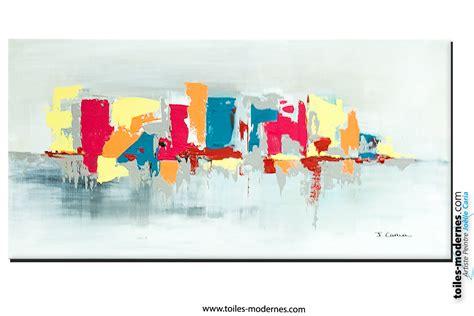 bureau contemporain bois tableau fuchsia gris déco design grande toile rectangle