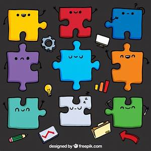 Cute puzzle pieces Vector | Free Download