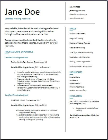 Certified Nursing Assistant Resume by Certified Nursing Assistant Resume Exles Sles Free