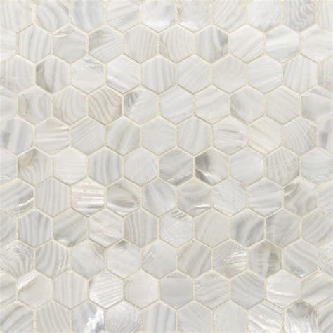 white rivershell hexagon mosaic tile contemporary