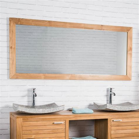 plan de travail en béton ciré cuisine grand miroir rectangle en teck massif 160 x 70 1303
