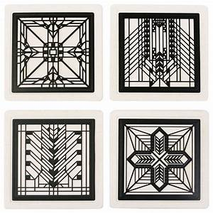 frank lloyd wright metal insert coaster set 2 craftsman With kitchen cabinets lowes with frank lloyd wright metal wall art