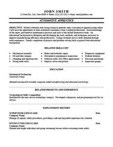 resume template for apprenticeship automotive apprentice resume template premium resume sles exle