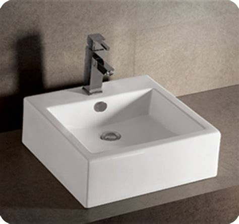 whitehaus square wall mount basin with overflow and rear