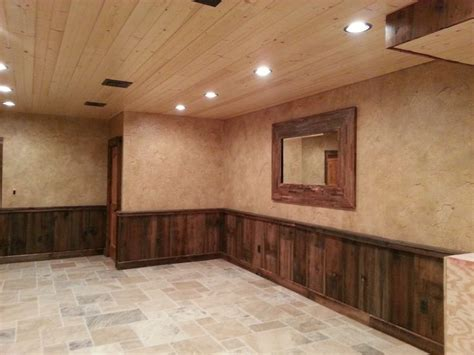 Cheap Basement Remodeling Ideas by Crackled Finish Above Barn Wood Wainscoting Pennsylvania