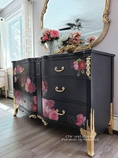 Furniture Dresser Makeover Paint Decoupage Funky Romantic