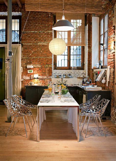 bold  inventive dining rooms  brick walls