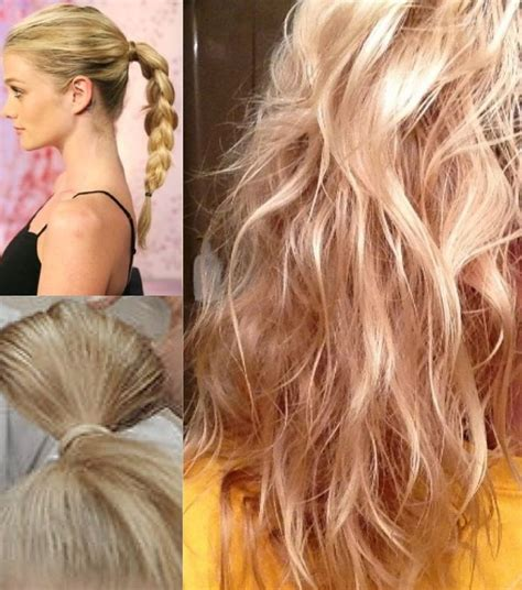 No Heat Beachy Waves Start With High Pony Tail Braid The