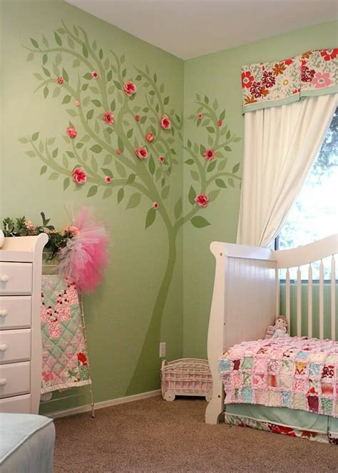 deco chambre bebe fille rose  vert