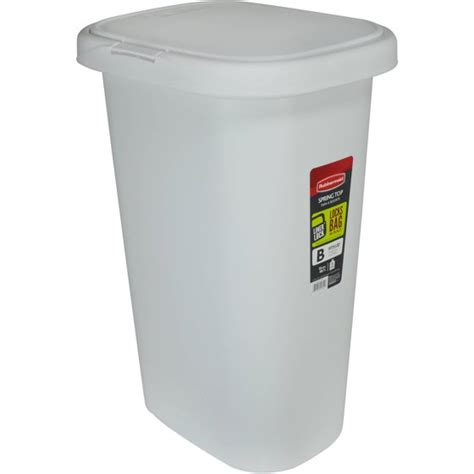 rubbermaid linerlock spring top trash   gal white walmartcom