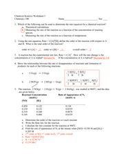 kinetics worksheet answers chemical kinetics worksheet i chemistry 106 name sec 1 which of the