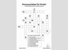 Kreuzworträtsel für Kinder und Jugendliche