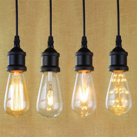 e27 light socket i shape vintage retro edison bulb pendant