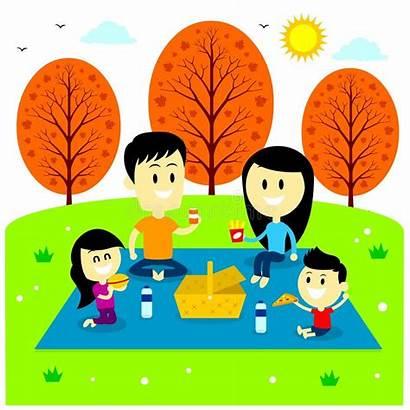 Picnic Park Fun Cartoon Vector Enjoying Illustration