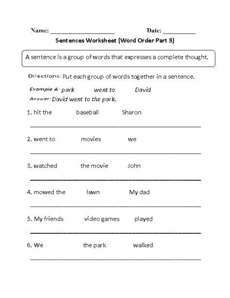 word order simple sentences worksheet part 3 beginner