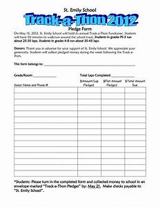 school walk a thon pledge track a thon pledge form pta With charity pledge form template