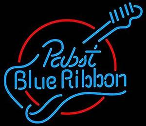 Pabst Blue Ribbon Guitar Real Glass Tube Neon Light Sign