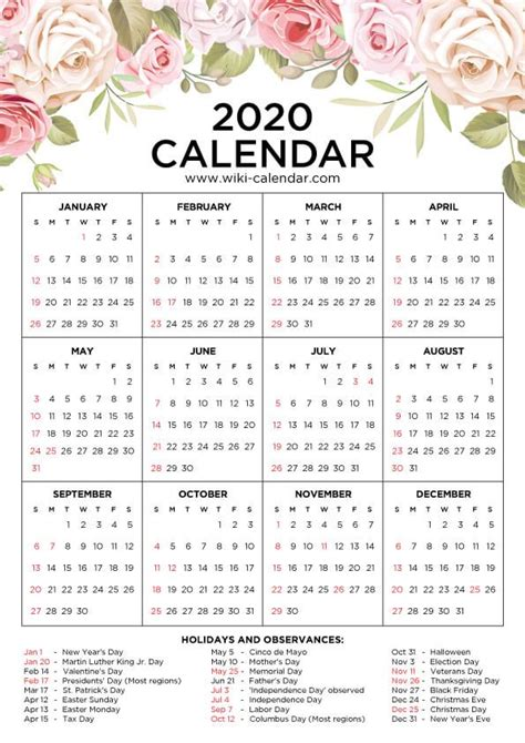 floral calendar printable yearly calendar