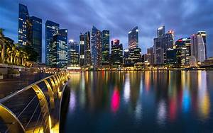 Night Singapore Skyscrapers HD Wallpaper | HD Desktop ...