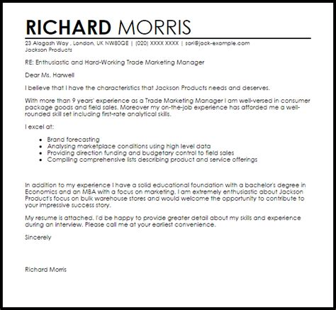 Marketing Director Resume Cover Letter by Trade Marketing Manager Cover Letter Sle Livecareer