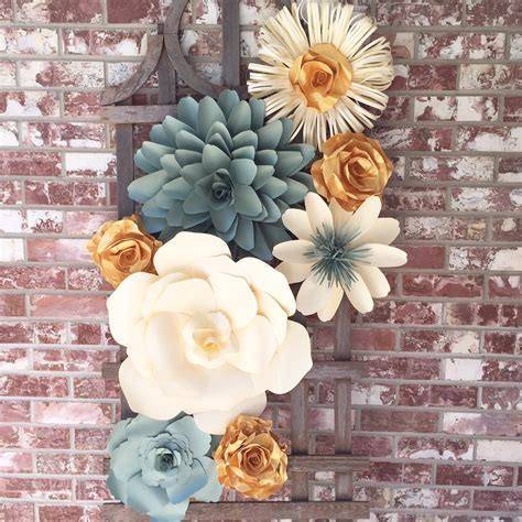 large paper flower wall decor for weddings by barbanndesigns - Wall Flowers Decor