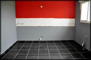 Decoration cuisine rouge et grise for Peinture mur rouge et gris
