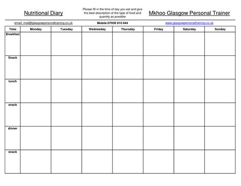 images  food journal worksheet daily food