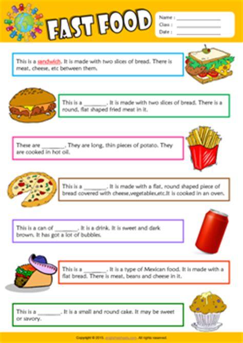 fast food esl printable worksheets  kids