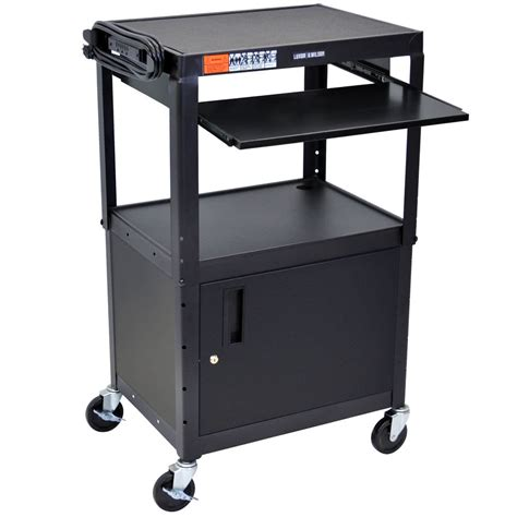 mobile laptop desk cart luxor avj42kbc mobile computer cart workstation 24 quot x 18