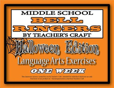 Middle School Ela Bell Ringers  Halloween  Language, Art And Language Arts