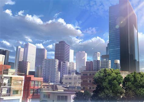 anime landscape city buildings