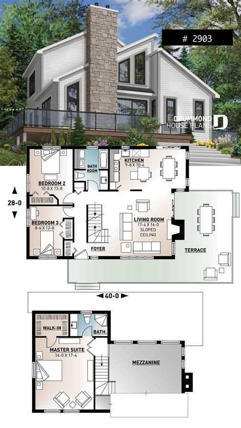 modern panoramic chalet house plan with private second