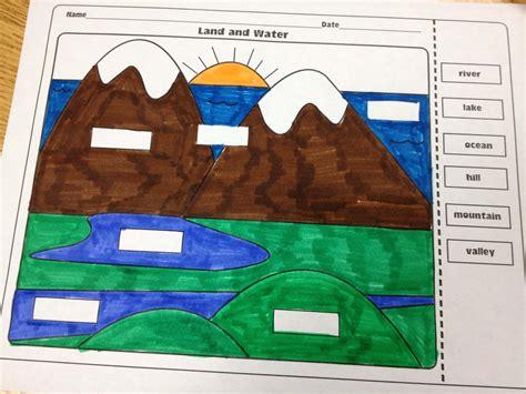 landforms  bodies  water worksheet  printables