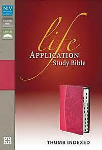 niv life application study bible imitation leather pink With red letter bible niv