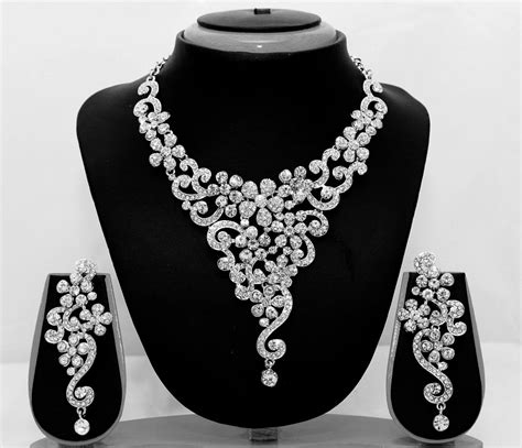 designer bollywood indian bridal silver necklace earrings