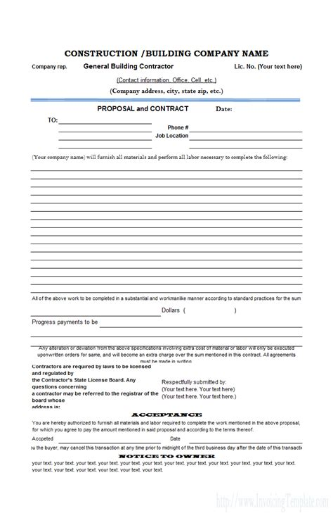 construction bid form excel   spreadshee
